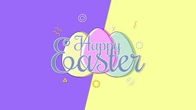 Animated closeup Happy Easter text and eggs on purple and yellow vertigo background vector illustration
