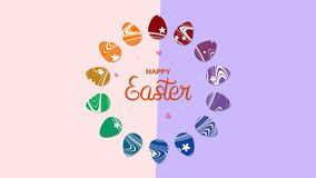 Animated closeup Happy Easter text and eggs on rose and purple vertigo background vector illustration