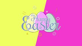 Animated closeup Happy Easter text and eggs on yellow and pink vertigo background vector illustration