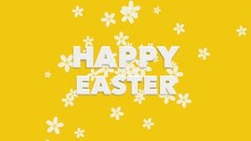 Animated closeup Happy Easter text and flowers on yellow background vector illustration