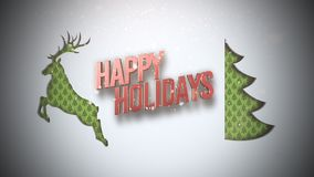 Animated closeup Happy Holidays text, green Christmas tree and deer on snow background vector illustration