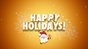 Animated closeup Happy Holidays text and Santa Claus with gift boxes on yellow background