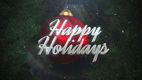 Animated closeup Happy Holidays text and white snowflakes, red balls on dark background stock illustration