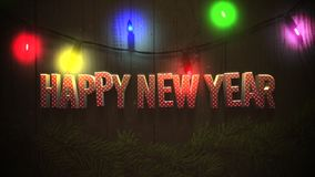 Animated closeup Happy New Year text and colorful garland on wood background