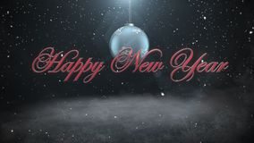 Animated closeup Happy New Year text and white snowflakes, red balls on dark background royalty free illustration