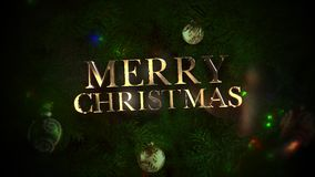 Animated closeup Merry Christmas text, colorful balls and green tree branches on shiny background. Luxury and elegant dynamic style template for winter holiday stock footage