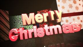 Animated closeup Merry Christmas text, gift boxes in room, wood background