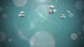 Animated closeup motion silver balls and snowflakes on blue background royalty free illustration