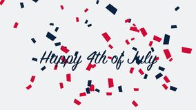 Animated closeup text July 4th on holiday background, Independence Day of USA
