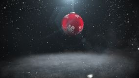 Animated closeup white snowflakes and red ball on dark background vector illustration