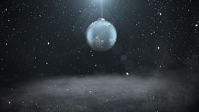 Animated closeup white snowflakes and silver ball on dark background royalty free illustration