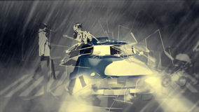 Animated cool car. Animated blue car speed in rain. Crash to glass. Dramatic noir situation Royalty Free Stock Images