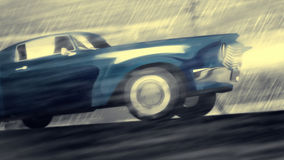 Animated cool car. Animated blue car speed in rain. Crash to glass. Dramatic noir situation Stock Images