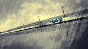 Animated cool car. Animated blue car speed in rain. Crash to glass. Dramatic noir situation Royalty Free Stock Photography