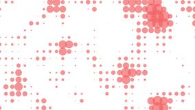 Animated coral color bubbles on white background