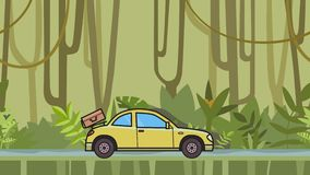 Animated coupe car with luggage on the rear hood riding through rainforest. Moving hatchback on jungle and river. Background. Flat animation stock video footage