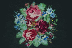 Animated cross-stitch bouquet of roses and cornflowers Stock Images