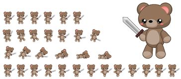 Animated Cute Bear Character Sprites. Animated sprites for cute monster character for creating fantasy adventure video games Stock Photography