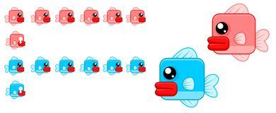 Animated Cute Fish Character Sprites