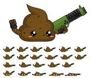 Animated Cute Turd Character Sprites. Animated sprites for cute monster character for creating fantasy adventure video games Royalty Free Stock Image