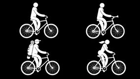 Animated cyclists - man and woman. Tourist on a bicycle