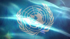 Animated 3D flag of United Nations Organization. Loop stock video footage