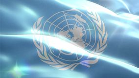 Animated 3D flag of United Nations Organization. Loop stock footage