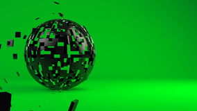 Animated 3d geometric sphere. Abstract green background with copyspace. Animated 3d geometric object - sphere on green, construction from small pieces royalty free illustration