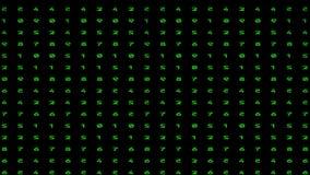 Animated digital rain. Animated numbers - digital rain. Green color code streams glowing on screen background stock video footage