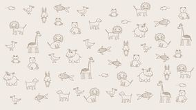 Animated doodle animals , kid light background. Substrate for titles, and other content. Design element. Animated doodle animals , kid light background royalty free illustration
