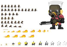 Animated Exterminator Character Sprites. Animated sprites for exterminator character for creating action adventure video games Stock Photography