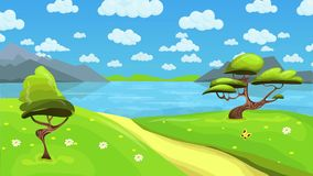 Animated fairy tale lake landscape with clouds in the sky. Cartoon landscape background. Seamless loop flat animation.