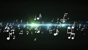 Animated falling 3d music notes. Black bokeh background