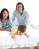 Animated family having fun stock photos