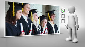 Animated figure walking and ticking a box beside graduation clip stock footage