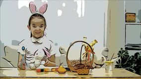 Little cute and adorable girl is smiling and playing with Easter bunnies in her hands. Concept Easter holiday. stock video footage