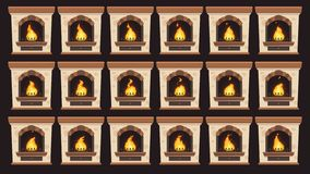 Animated fire in fireplace. Flames animation in retro home wood burning fireplaces isolated vector cartoon frames set. Retro Christmas hearth stove, chimney royalty free illustration