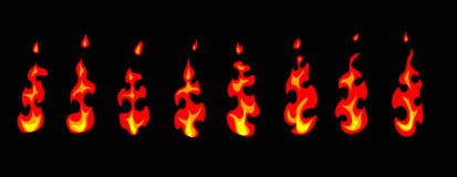 Animated fire. Vector. royalty free illustration