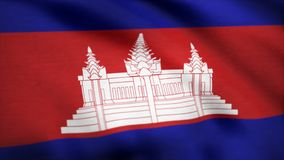 Animated flag of Cambodia - seamless loop. Cambodia Flag. Background Seamless Looping Animation. 4K High Definition. Video. Flag of Cambodia. Background Royalty Free Stock Photos