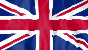 Animated flag of the United Kingdom. In slow motion stock footage