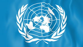 Animated flag of the United Nations. In slow motion stock footage