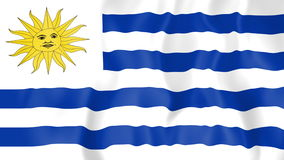 Animated flag of Uruguay. In slow motion stock footage
