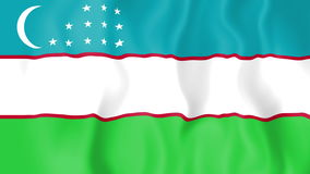 Animated flag of Uzbekistan stock video footage
