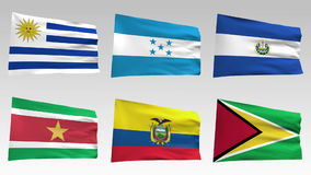 Animated flags from America collection with alpha channel, Uruguay, Honduras, Salvador, Suriname, Ecuador, Guyana stock video footage