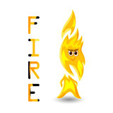 Animated flame. An animated flame with eyes and mouth,concept,design,with text Stock Photo