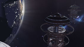 Animated fleet of futuristic space stations 4K