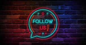 Animated flickering follow us writing neon on the wall. 4k Animation video, motion graphics design