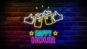 Animated flickering happy hour writing with beer glasses neon on the wall. Animation, motion graphics design