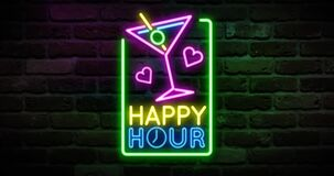 Animated flickering happy hour writing with cocktail glass neon on the wall. Animation, motion graphics design
