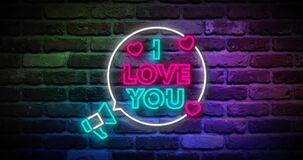 Animated flickering i love you writing neon on the wall. Animation, motion graphics design